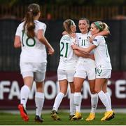 11 March 2020; Katie McCabe of Republic of Ireland celebrates with team-mates Ruesha Littlejohn, left, and Denise O'Sullivan, right, after scoring her side's second goal during the UEFA Women's 2021 European Championships Qualifier match between Montenegro and Republic of Ireland at Pod Malim Brdom in Petrovac, Montenegro. Photo by Stephen McCarthy/Sportsfile