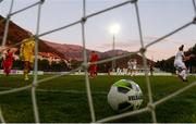 11 March 2020; Montenegro goalkeeper Ivana Cabarkapa, left, reacts after conceding her side's third goal, scored by Denise O'Sullivan of Republic of Ireland, during the UEFA Women's 2021 European Championships Qualifier match between Montenegro and Republic of Ireland at Pod Malim Brdom in Petrovac, Montenegro. Photo by Stephen McCarthy/Sportsfile