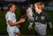 11 March 2020; Republic of Ireland manager Vera Pauw, right, congratulates Kyra Carusa of Republic of Ireland following the UEFA Women's 2021 European Championships Qualifier match between Montenegro and Republic of Ireland at Pod Malim Brdom in Petrovac, Montenegro. Photo by Stephen McCarthy/Sportsfile