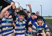 11 March 2020; Garbally College captain Cian Treacy lifts the cup as his team-mates celebrate after the Top Oil Connacht Schools Senior A Cup Final match between Garbally College and Sligo Grammar at The Sportsground in Galway. Photo by Matt Browne/Sportsfile
