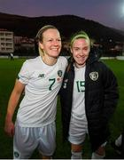 11 March 2020; Diane Caldwell, left, and Claire O'Riordan of Republic of Ireland following the UEFA Women's 2021 European Championships Qualifier match between Montenegro and Republic of Ireland at Pod Malim Brdom in Petrovac, Montenegro. Photo by Stephen McCarthy/Sportsfile