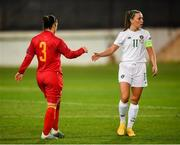 11 March 2020; Katie McCabe of Republic of Ireland and Aleksandra Popovic of Montenegro acknowledge each other without touching hands following the UEFA Women's 2021 European Championships Qualifier match between Montenegro and Republic of Ireland at Pod Malim Brdom in Petrovac, Montenegro. Photo by Stephen McCarthy/Sportsfile