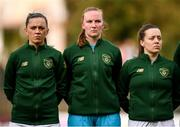 11 March 2020; Republic of Ireland players, from left, Katie McCabe, Courtney Brosnan and Harriet Scott during the UEFA Women's 2021 European Championships Qualifier match between Montenegro and Republic of Ireland at Pod Malim Brdom in Petrovac, Montenegro. Photo by Stephen McCarthy/Sportsfile