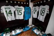 11 March 2020; Republic of Ireland jerseys hang in their dressing room prior to the UEFA Women's 2021 European Championships Qualifier match between Montenegro and Republic of Ireland at Pod Malim Brdom in Petrovac, Montenegro. Photo by Stephen McCarthy/Sportsfile