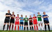 12 March 2020; Players from left, Lauren Dwyer of Wexford Youths Women's FC, Keara Cormican of Galway Women's FC, Alanna Roddy of Treaty United FC, Catherine Cronin of DLR Waves FC, Eleanor Ryan Doyle of Peamount United FC, Abbie Brophy of Bohemian FC, Jessica Ziu of Shelbourne FC, Maria O'Sullivan ofCork City Womens FC and Paula Doran of Athlone Town AFC at the 2020 Women's National League photocall at FAI HQ in Abbotstown, Dublin. Photo by Eóin Noonan/Sportsfile