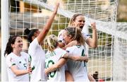 11 March 2020; Diane Caldwell, right, celebrates with her Republic of Ireland team-mates, from left, Niamh Fahey, Rianna Jarrett, Denise O'Sullivan and Louise Quinn after scoring her side's opening goal during the UEFA Women's 2021 European Championships Qualifier match between Montenegro and Republic of Ireland at Pod Malim Brdom in Petrovac, Montenegro. Photo by Stephen McCarthy/Sportsfile