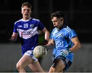 6 March 2020; Padraig Purcell of Dublin in action against Sean O'Neill of Laois during the EirGrid Leinster GAA Football U20 Championship Final match between Laois and Dublin at Netwatch Cullen Park in Carlow. Photo by Matt Browne/Sportsfile