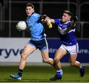 6 March 2020; Luke Swan of Dublin in action against Gary Saunders of Laois during the EirGrid Leinster GAA Football U20 Championship Final match between Laois and Dublin at Netwatch Cullen Park in Carlow. Photo by Matt Browne/Sportsfile