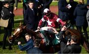 12 March 2020; Jockey Davy Russell on Samcro, is welcomed back into the parade after winning the Marsh Novices' Chase on Day Three of the Cheltenham Racing Festival at Prestbury Park in Cheltenham, England. Photo by Harry Murphy/Sportsfile