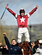 12 March 2020; Jockey Davy Russell celebrates after winning the Marsh Novices' Chase on Samcro during Day Three of the Cheltenham Racing Festival at Prestbury Park in Cheltenham, England. Photo by David Fitzgerald/Sportsfile