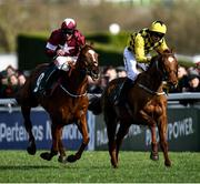 12 March 2020; Samcro, with Davy Russell up, race ahead of Melon, with Partick Mullins up, to win the Marsh Novices' Chase on Day Three of the Cheltenham Racing Festival at Prestbury Park in Cheltenham, England. Photo by Harry Murphy/Sportsfile