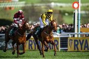 12 March 2020; Samcro, with Davy Russell up, beats Melon, with Partick Mullins up, in a close finish during the Marsh Novices' Chase on Day Three of the Cheltenham Racing Festival at Prestbury Park in Cheltenham, England. Photo by Harry Murphy/Sportsfile