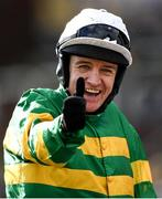 12 March 2020; Jockey Barry Geraghty celebrates after winning the Pertemps Network Final Handicap Hurdle on Sire Du Berlais during Day Three of the Cheltenham Racing Festival at Prestbury Park in Cheltenham, England. Photo by Harry Murphy/Sportsfile