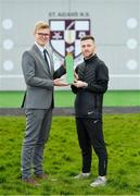 12 March 2020; Jack Byrne of Shamrock Rovers is presented with his SSE Airtricity/SWAI Player of the Month Award for February 2020 by Cillian Byrne, Marketing Executive, SSE Airtricity, at St. Aidan's Senior National School, Brookfield, Dublin. Photo by Seb Daly/Sportsfile