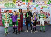 12 March 2020; Jack Byrne of Shamrock Rovers is pictured with his SSE Airtricity/SWAI Player of the Month Award for February 2020, alongside pupils of from St. Aidan's Senior National School, Brookfield, Dublin, from left, Paul Warner, Abbey Byrne, Testimony Adewale, Megan Evans and Jayden Marshall, at St. Aidan's Senior National School, Brookfield, Dublin. Photo by Seb Daly/Sportsfile