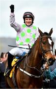12 March 2020; Jockey Paul Townend celebrates after winning the Ryanair Chase on Min during Day Three of the Cheltenham Racing Festival at Prestbury Park in Cheltenham, England. Photo by David Fitzgerald/Sportsfile