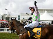 12 March 2020; Jockey Paul Townend on Min, celebrate winning the Ryanair Chase on Day Three of the Cheltenham Racing Festival at Prestbury Park in Cheltenham, England. Photo by Harry Murphy/Sportsfile