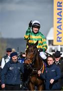 12 March 2020; Jockey Barry Geraghty on Sire Du Berlais, celebrates after winning the Pertemps Network Final Handicap Hurdle on Day Three of the Cheltenham Racing Festival at Prestbury Park in Cheltenham, England. Photo by David Fitzgerald/Sportsfile