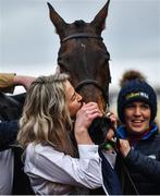 12 March 2020; Syndicate member Anna Morgan kisses Lisnagar Oscar after winning the Paddy Power Stayers' Hurdle on Day Three of the Cheltenham Racing Festival at Prestbury Park in Cheltenham, England. Photo by David Fitzgerald/Sportsfile