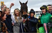 12 March 2020; Syndicate member Anna Morgan, third from left, celebrates with Lisnagar Oscar and jockey Adam Wedge, right, after winning the Paddy Power Stayers' Hurdle on Day Three of the Cheltenham Racing Festival at Prestbury Park in Cheltenham, England. Photo by David Fitzgerald/Sportsfile