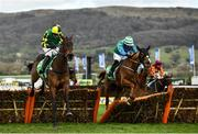 12 March 2020; Lisnagar Oscar, with Adam Wedge up, left, jumps the last ahead of runner-up Ronald Pump, with Bryan Cooper up, on their way to winning the Paddy Power Stayers' Hurdle on Day Three of the Cheltenham Racing Festival at Prestbury Park in Cheltenham, England. Photo by David Fitzgerald/Sportsfile