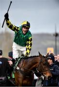12 March 2020; Adam Wedge on Lisnagar Oscar, celebrate after winning the Paddy Power Stayers' Hurdle on Day Three of the Cheltenham Racing Festival at Prestbury Park in Cheltenham, England. Photo by David Fitzgerald/Sportsfile