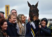 12 March 2020; Syndicate member Anna Morgan, centre, celebrates with Lisnagar Oscar after winning the Paddy Power Stayers' Hurdle on Day Three of the Cheltenham Racing Festival at Prestbury Park in Cheltenham, England. Photo by David Fitzgerald/Sportsfile