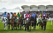 12 March 2020; Runners and riders gather at the start of the Paddy Power Stayers' Hurdle on Day Three of the Cheltenham Racing Festival at Prestbury Park in Cheltenham, England. Photo by David Fitzgerald/Sportsfile