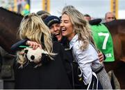 12 March 2020; Syndicate member Anna Morgan, right, celebrates with winning connections after Lisnagar Oscar won the Paddy Power Stayers' Hurdle on Day Three of the Cheltenham Racing Festival at Prestbury Park in Cheltenham, England. Photo by David Fitzgerald/Sportsfile