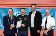6 March 2020; FAI Interim Deputy Chief Executive Niall Quinn, Tom Brabazon, Lord Mayor of Dublin, left, and Gerard Donnelly, An Garda Síochána Superintendent, Coolock, right, present Brian Judge of An Garda Síochána, Coolock, with their FAI Futsal Introductory Course certificate during a presentation, at Darndale Belcamp Recreation Centre in Dublin. Photo by Stephen McCarthy/Sportsfile
