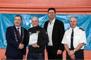 6 March 2020; FAI Interim Deputy Chief Executive Niall Quinn, Tom Brabazon, Lord Mayor of Dublin, left, and Gerard Donnelly, An Garda Síochána Superintendent, Coolock, right, present David Burns of An Garda Síochána, Coolock, with their FAI Futsal Introductory Course certificate during a presentation, at Darndale Belcamp Recreation Centre in Dublin. Photo by Stephen McCarthy/Sportsfile