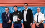 6 March 2020; FAI Interim Deputy Chief Executive Niall Quinn, Tom Brabazon, Lord Mayor of Dublin, left, and Gerard Donnelly, An Garda Síochána Superintendent, Coolock, right, present David Dunne of An Garda Síochána, Coolock, with their FAI Futsal Introductory Course certificate during a presentation, at Darndale Belcamp Recreation Centre in Dublin. Photo by Stephen McCarthy/Sportsfile