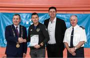 6 March 2020; FAI Interim Deputy Chief Executive Niall Quinn, Tom Brabazon, Lord Mayor of Dublin, left, and Gerard Donnelly, An Garda Síochána Superintendent, Coolock, right, present Cormac Ó Floinn of An Garda Síochána, Coolock, with their FAI Futsal Introductory Course certificate during a presentation, at Darndale Belcamp Recreation Centre in Dublin. Photo by Stephen McCarthy/Sportsfile