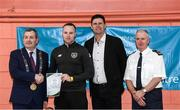 6 March 2020; FAI Interim Deputy Chief Executive Niall Quinn, Tom Brabazon, Lord Mayor of Dublin, left, and Gerard Donnelly, An Garda Síochána Superintendent, Coolock, right, present Steven Nolan of An Garda Síochána, Coolock, with their FAI Futsal Introductory Course certificate during a presentation, at Darndale Belcamp Recreation Centre in Dublin. Photo by Stephen McCarthy/Sportsfile