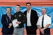 6 March 2020; FAI Interim Deputy Chief Executive Niall Quinn, Tom Brabazon, Lord Mayor of Dublin, left, and Gerard Donnelly, An Garda Síochána Superintendent, Coolock, right, present Ruairi Brodigan of An Garda Síochána, Coolock, with their FAI Futsal Introductory Course certificate during a presentation, at Darndale Belcamp Recreation Centre in Dublin. Photo by Stephen McCarthy/Sportsfile