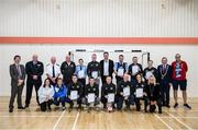 6 March 2020; FAI Interim Deputy Chief Executive Niall Quinn with members of An Garda Síochána, Coolock, during a FAI Futsal Introductory Course certificate presentation, at Darndale Belcamp Recreation Centre in Dublin. Photo by Stephen McCarthy/Sportsfile
