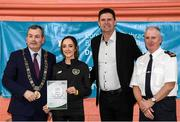 6 March 2020; FAI Interim Deputy Chief Executive Niall Quinn, Tom Brabazon, Lord Mayor of Dublin, left, and Gerard Donnelly, An Garda Síochána Superintendent, Coolock, right, present Louise Burns of An Garda Síochána, Coolock, with their FAI Futsal Introductory Course certificate during a presentation, at Darndale Belcamp Recreation Centre in Dublin. Photo by Stephen McCarthy/Sportsfile