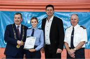 6 March 2020; FAI Interim Deputy Chief Executive Niall Quinn, Tom Brabazon, Lord Mayor of Dublin, left, and Gerard Donnelly, An Garda Síochána Superintendent, Coolock, right, present Aoibheann O'Farrell of An Garda Síochána, Coolock, with their FAI Futsal Introductory Course certificate during a presentation, at Darndale Belcamp Recreation Centre in Dublin. Photo by Stephen McCarthy/Sportsfile