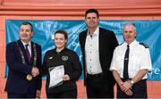 6 March 2020; FAI Interim Deputy Chief Executive Niall Quinn, Tom Brabazon, Lord Mayor of Dublin, left, and Gerard Donnelly, An Garda Síochána Superintendent, Coolock, right, present Gráinne McHugh of An Garda Síochána, Coolock, with their FAI Futsal Introductory Course certificate during a presentation, at Darndale Belcamp Recreation Centre in Dublin. Photo by Stephen McCarthy/Sportsfile