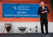 6 March 2020; Jimmy Mowlds, FAI Development Officer, during a FAI Futsal Introductory Course certificate presentation, at Darndale Belcamp Recreation Centre in Dublin. Photo by Stephen McCarthy/Sportsfile