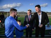 6 March 2020; FAI Interim Deputy Chief Executive Niall Quinn and Tom Brabazon, Lord Mayor of Dublin, during the opening of the new Darndale FC all-weather pitch at Darndale Park in Dublin. Photo by Stephen McCarthy/Sportsfile