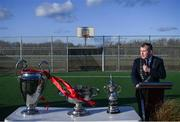 6 March 2020; Tom Brabazon, Lord Mayor of Dublin, speaking during the opening of the new Darndale FC all-weather pitch at Darndale Park in Dublin. Photo by Stephen McCarthy/Sportsfile