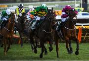 13 March 2020; Saint Roi, with Barry Geraghty up, left, on their way to winning the Randox Health County Handicap Hurdle ahead of eventual third place finisher Embittered, with JJ Slevin up, on Day Four of the Cheltenham Racing Festival at Prestbury Park in Cheltenham, England. Photo by Harry Murphy/Sportsfile