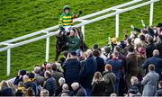 13 March 2020; Barry Geraghty on Saint Roi, celebrates after winning the Randox Health County Handicap Hurdle on Day Four of the Cheltenham Racing Festival at Prestbury Park in Cheltenham, England. Photo by David Fitzgerald/Sportsfile
