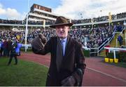 13 March 2020; Trainer Willie Mullins celebrates after he sent out Al Boum Photo to win the Magners Cheltenham Gold Cup Chase on Day Four of the Cheltenham Racing Festival at Prestbury Park in Cheltenham, England. Photo by David Fitzgerald/Sportsfile
