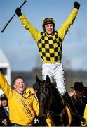13 March 2020; Jockey Paul Townend celebrates after winning the Magners Cheltenham Gold Cup Chase on Al Boum Photo on Day Four of the Cheltenham Racing Festival at Prestbury Park in Cheltenham, England. Photo by Harry Murphy/Sportsfile