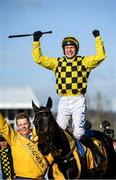 13 March 2020; Jockey Paul Townend celebrates after winning the Magners Cheltenham Gold Cup Chase on Al Boum Photo during Day Four of the Cheltenham Racing Festival at Prestbury Park in Cheltenham, England. Photo by Harry Murphy/Sportsfile