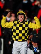 13 March 2020; Jockey Paul Townend celebrates after winning the Magners Cheltenham Gold Cup Chase on Al Boum Photo on Day Four of the Cheltenham Racing Festival at Prestbury Park in Cheltenham, England. Photo by David Fitzgerald/Sportsfile