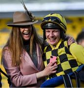 13 March 2020; Jockey Paul Townend celebrates with winning connection, Rachel Robins after winning the Magners Cheltenham Gold Cup Chase on Al Boum Photo during Day Four of the Cheltenham Racing Festival at Prestbury Park in Cheltenham, England. Photo by Harry Murphy/Sportsfile