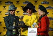 13 March 2020; Anne, Princess Royal, left, with Representetive Owner Marie Donnelly, centre, and wife of trainer Willie Mullins, Maureen, with the cup following the Magners Cheltenham Gold Cup Chase on Day Four of the Cheltenham Racing Festival at Prestbury Park in Cheltenham, England. Photo by Harry Murphy/Sportsfile